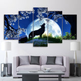 Full Moon Howling Wolf Framed 5 Piece Canvas Wall Art Image Picture Wallpaper Mural Decoration Design Artwork Poster Decor Print Painting Photography