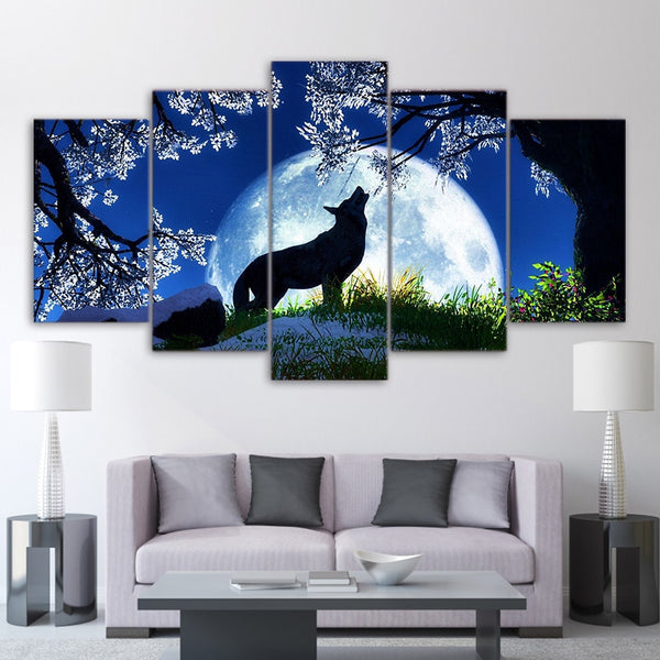 Wolf Howling Big Moon Planet Galaxy 5 Pcs Canvas Wall Picture Poster Home Decor