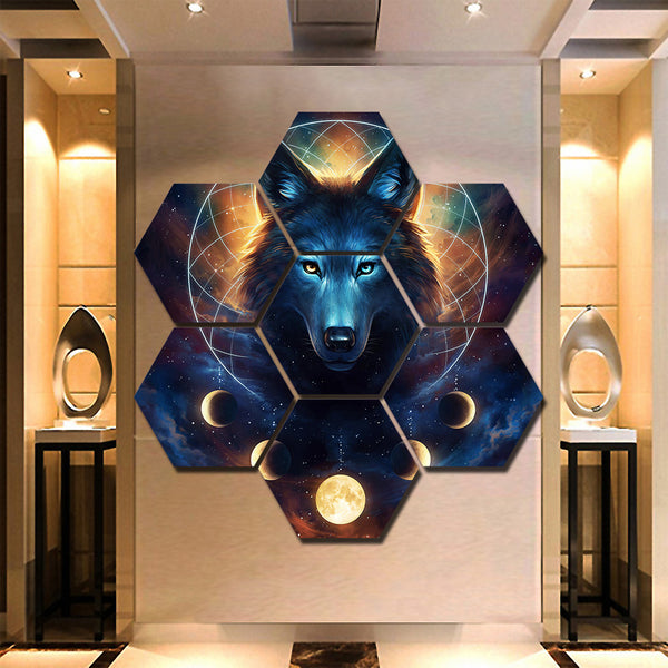 Wolf Moon Dreamcatcher Hexagon 7 Piece Framed Canvas Wall Art Painting Wallpaper Decor Poster Picture Print