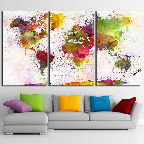 Colorful Abstract Art World Map Framed 3 Piece Canvas Wall Art Painting Wallpaper Poster Picture Print Photo Decor