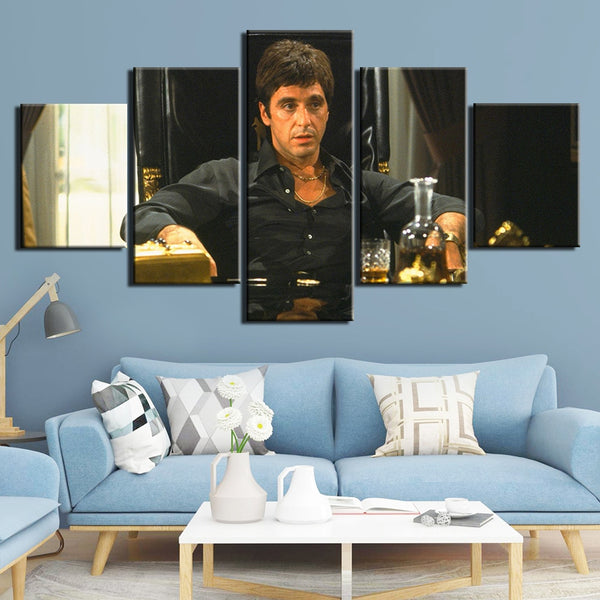 Al Pacino Scarface Framed 5 Piece Movie Canvas Wall Art Painting Wallpaper Poster Picture Print Photo Decor