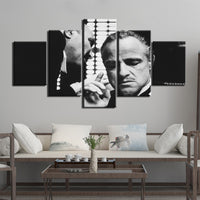 The Godfather Gangster Mafia Movie Black & White Framed 5 Piece Canvas Wall Art Painting Wallpaper Poster Picture Print Photo Decor