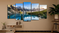 Beautiful Mountain Lake Forest Trees Framed 5 Piece Nature Canvas Wall Art Image Picture Wallpaper Mural Artwork Poster Decor Print Painting Photography