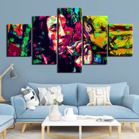 Colorful Bob Marley Weed Ganja Cannabis 420 Marijuana Abstract Art Framed 5 Piece Canvas Wall Art Image Picture Wallpaper Mural Decoration Design Artwork Poster Decor Print Painting Photography