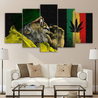 Weed Marijuana Ganja 420 Cannabis Old Man Smoking Framed 5 Piece Canvas Wall Art Image Picture Wallpaper Mural Artwork Poster Decor Print Painting Photography