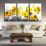 Bright Yellow Pretty Flowers Nature 3 Piece Canvas Wall Art Painting Wallpaper Poster Picture Print Photo Decor