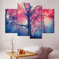 Forest Tree Framed 4 Piece Nature Canvas Wall Art Painting Wallpaper Decor Poster Picture Print