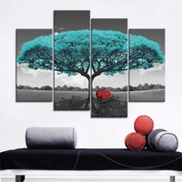 Aqua Tree & Red Bench Black & White Framed 4 Piece Canvas Wall Art Painting Wallpaper Decor Poster Picture Print