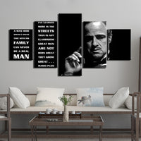 The Godfather Marlon Brando Celebrity Hollywood Framed 5 Piece Movie Canvas Wall Art Painting Wallpaper Decor Poster Picture Print