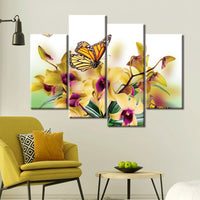 Butterfly & Flowers Nature Framed 4 Piece Canvas Wall Art Painting Wallpaper Poster Picture Print Photo Decor