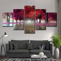 Pretty Autumn Colors Tree Forest Framed Nature 5 Piece Canvas Wall Art Image Picture Wallpaper Mural Decoration Design Artwork Poster Decor Print Painting Photography