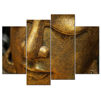 Buddha Face Statue Buddhist Zen Buddhism Framed 4 Piece Canvas Wall Art Painting Wallpaper Poster Picture Print Photo Decor