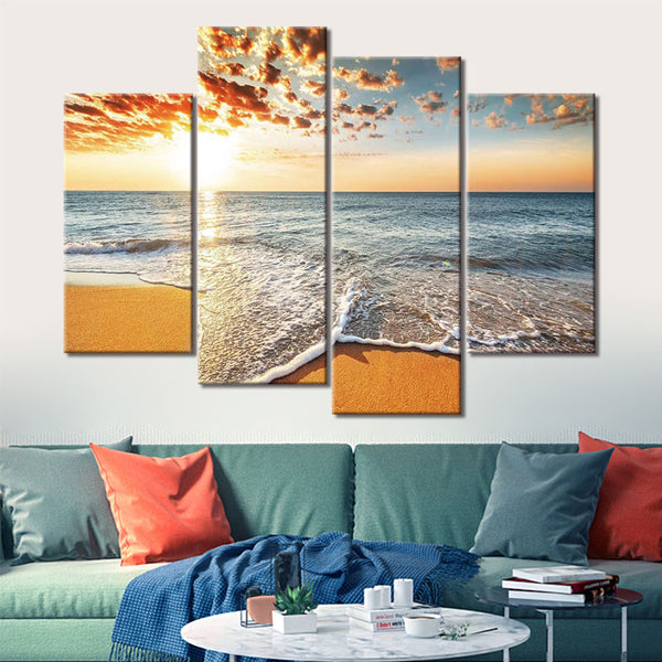 Ocean Seascape Beach Wave Sunrise Sunset 4 Panel Piece Framed Canvas Wall Art Painting Wallpaper Poster Picture Print Photo Decor