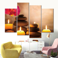 Zen Candles & Balanced Rocks Spa Relaxation Framed 4 Piece Canvas Wall Art Painting Wallpaper Poster Picture Print Photo Decor