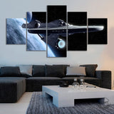 Star Trek Enterprise Spaceship Framed 5 Piece Space Canvas Wall Art Painting Wallpaper Poster Picture Print Photo Decor