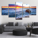 Ocean Sunset Sunrise Seascape Waves Framed 5 Piece NatureCanvas Wall Art Painting Wallpaper Poster Picture Print Photo Decor