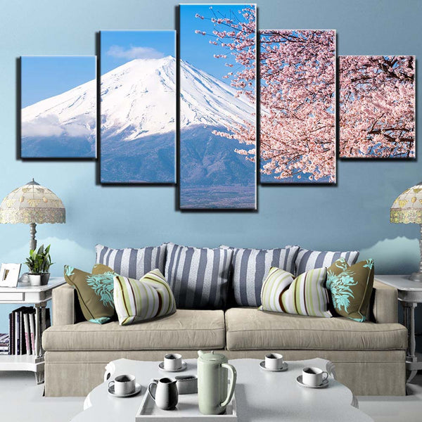 Snowy Mt Fuji Japan Volcano Peak Framed 5 Piece Nature Canvas Wall Art Painting Wallpaper Poster Picture Print Photo Decor