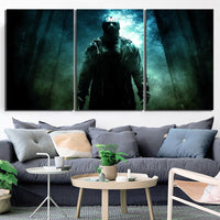 Jason Voorhees Friday The 13th Framed 3 Piece Horror Movie Canvas Wall Art Painting Wallpaper Poster Picture Print Photo Decor