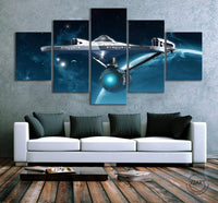 Star Trek Spaceship Enterprise Framed 5 Piece Movie & TV Canvas Wall Art Painting Wallpaper Poster Picture Print Photo Decor