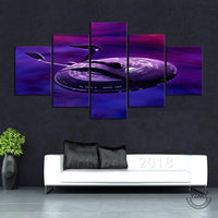 Star Trek USS Enterprise Spaceship Framed 5 Piece Space Canvas Wall Art Painting Wallpaper Poster Picture Print Photo Decor