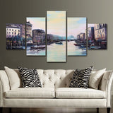 Venetian Venice Italy Italian Framed 5 Piece Canvas Wall Art Painting Wallpaper Poster Picture Print Photo Decor