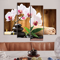 Flowers & Balanced Rocks Zen Candle Towel Spa Salon Relaxation Framed 4 Piece Canvas Wall Art Painting Wallpaper Decor Poster Picture Print