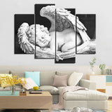 Winged Cupid Black & White Angel Framed 4 Piece Canvas Wall Art Painting Wallpaper Decor Poster Picture Print