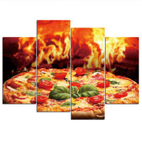 Fire Flaming Pizza Restaurant Food Framed 4 Piece Canvas Wall Art Painting Wallpaper Decor Poster Picture Print