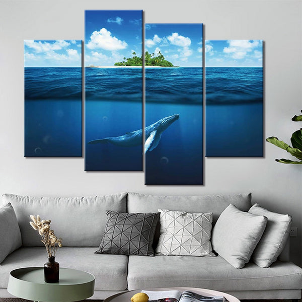 Tropical Island Ocean Seascape Whale Framed 4 Piece Animal Canvas Wall Art Painting Wallpaper Decor Poster Picture Print