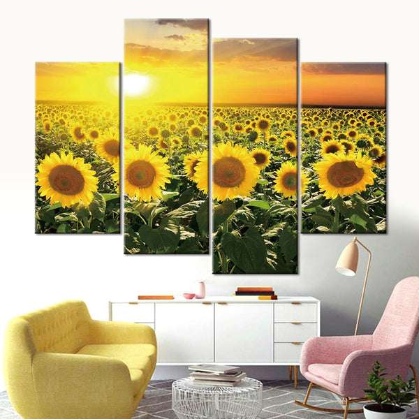 Sunflower Field Sunset Sunrise Nature Framed 4 Piece Flower Canvas Wall Art Painting Wallpaper Decor Poster Picture Print