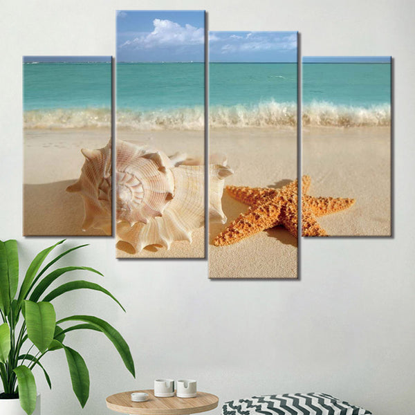 Starfish Seashell Ocean Beach Wave Framed 4 Piece Seascape Canvas Wall Art Painting Wallpaper Decor Poster Picture Print