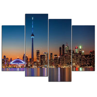 Toronto Ontario Canada Sunset Sunrise Skyline CN Tower Framed 4 Piece Cityscape Canvas Wall Art Painting Wallpaper Decor Poster Picture Print