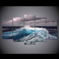 Stormy Sea Ocean Waves Framed 5 Piece Seascape Canvas Wall Art Painting Wallpaper Decor Poster Picture Print