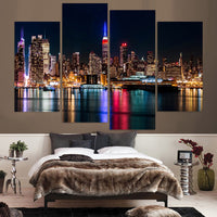 NYC USA New York City Night Cityscape Framed 4 Piece United States Of America Canvas Wall Art Painting Wallpaper Decor Poster Picture Print