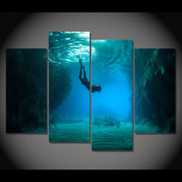 Ocean Diving Diver Swimming Framed 4 Piece Canvas Wall Art Painting Wallpaper Poster Picture Print Photo Decor