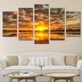 Sunrise Sunset On Water Framed 5 Piece Nature Canvas Wall Art Painting Wallpaper Poster Picture Print Photo Decor