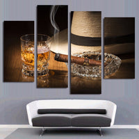 Whiskey Alcohol Drink Cigar Smoke Fedora Bar Restaurant Framed 4 Piece Canvas Wall Art Painting Wallpaper Poster Picture Print Photo Decor