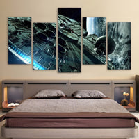 Millennium Falcon Star Wars Painting Canvas Print Framed 5 Piece Wall Art