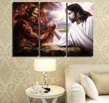 Jesus Vs Satan Christian Religion Faith Framed 3 Piece Canvas Wall Art Print Photo Decor Painting Wallpaper Poster Picture