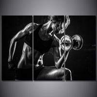 Fitness Exercise Working Out Gym Body Building Weight Training Sports 3 Piece Canvas Wall Art Painting Wallpaper Poster Picture Print Photo Decor