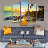 Ocean Sunset Sunrise Tropical Beach Seascape Framed 5 Piece Canvas Wall Art Painting Wallpaper Poster Picture Print Photo Decor