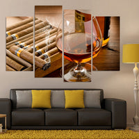 Whiskey Alcohol & Cigar Smoke Bar 4 Piece Canvas Wall Art Painting Wallpaper Poster Picture Print Photo Decor