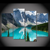 Rocky Mountain Lake Moraine Banff Alberta Canada Framed 4 Piece Canvas Wall Art Painting Wallpaper Poster Picture Print Photo Decor