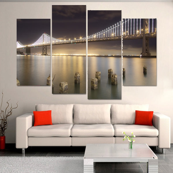 San Francisco City California USA Golden Gate Bridge At Night Framed 4 Piece Canvas Wall Art