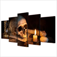 Skull Skeleton Candle & Hourglass Death Framed 5 Piece Canvas Wall Art Painting Wallpaper Decor Poster Picture Print