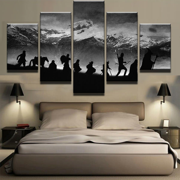 Lord Of The Rings Mountain Framed 5 Piece Canvas Wall Art - 5 Panel Canvas Wall Art - FabTastic.Co