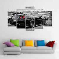 Nissan GTR Sports Race Car Framed 5 Piece Canvas Wall Art Painting Wallpaper Poster Picture Print Photo Decor