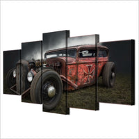 Antique Hot Rod Vintage Car Framed 5 Piece Canvas Wall Art - 5 Panel Canvas Wall Art - FabTastic.Co