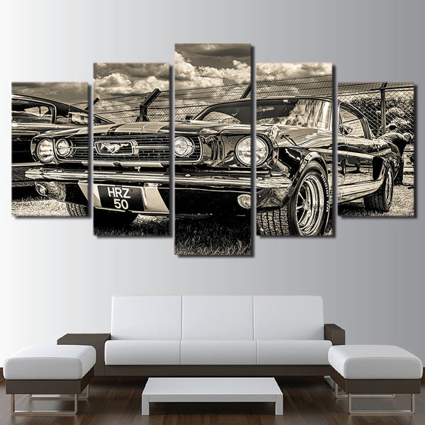 1965 Ford Mustang Sports Car Framed 5 Piece Canvas Wall Art - 5 Panel Canvas Wall Art - FabTastic.Co