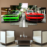 Dodge Challenger Green & Red Cars Framed 5 Piece Canvas Wall Art - 5 Panel Canvas Wall Art - FabTastic.Co